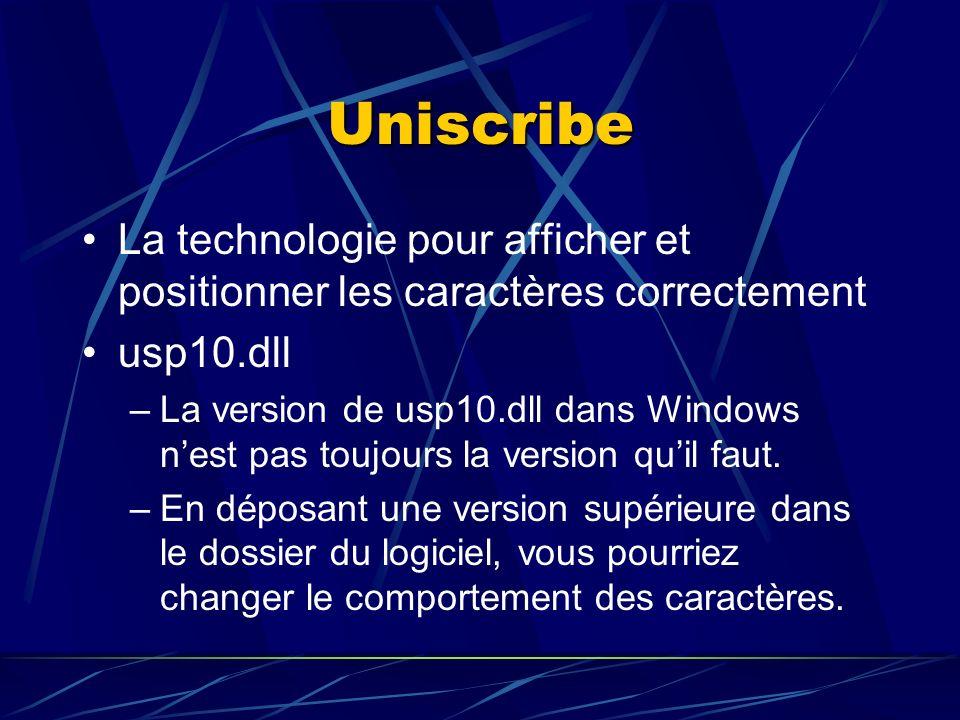 Uniscribe La technologie pour afficher et positionner les caractères correctement usp10.dll –La version de usp10.dll dans Windows nest pas toujours la version quil faut.