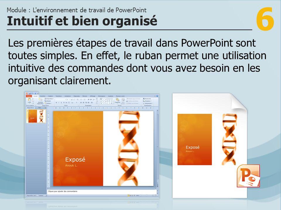 6 Les premières étapes de travail dans PowerPoint sont toutes simples.