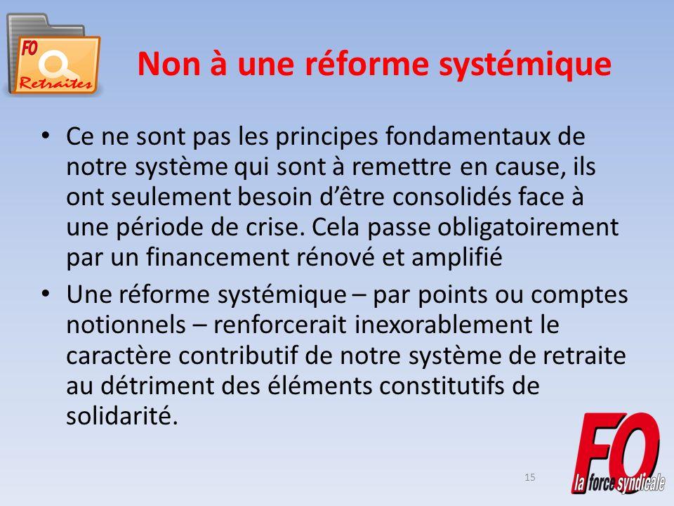 15 Non à une réforme systémique Ce ne sont pas les principes fondamentaux de notre système qui sont à remettre en cause, ils ont seulement besoin dêtre consolidés face à une période de crise.
