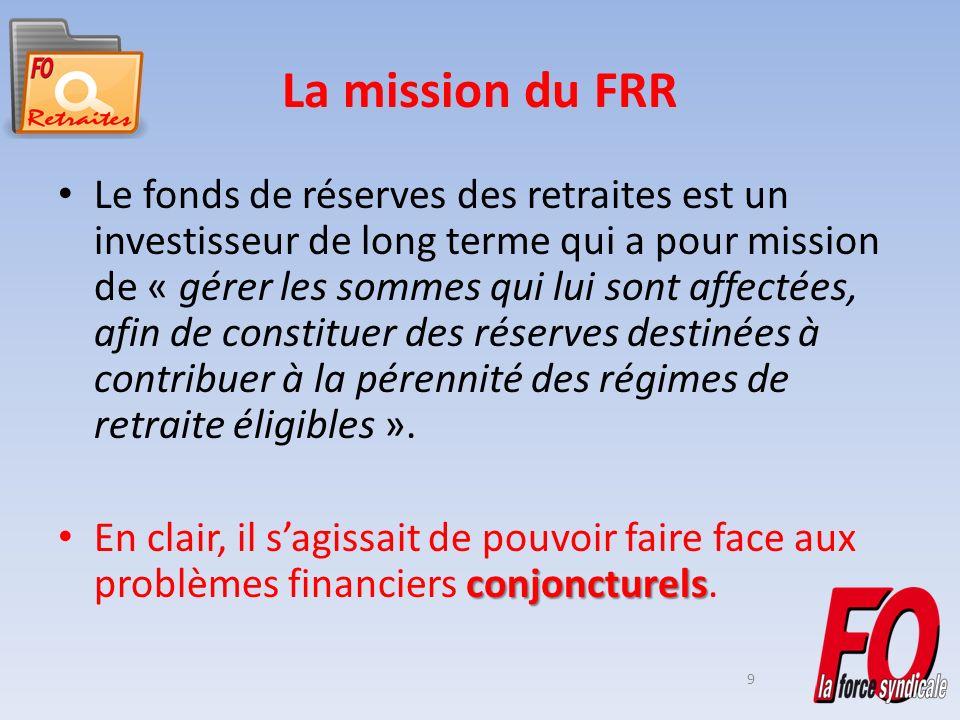 9 La mission du FRR Le fonds de réserves des retraites est un investisseur de long terme qui a pour mission de « gérer les sommes qui lui sont affectées, afin de constituer des réserves destinées à contribuer à la pérennité des régimes de retraite éligibles ».