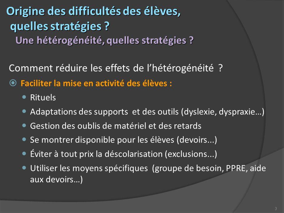 3 Origine des difficultés des élèves, quelles stratégies ? Origine des difficultés des élèves, quelles stratégies ? Une hétérogénéité, quelles stratég