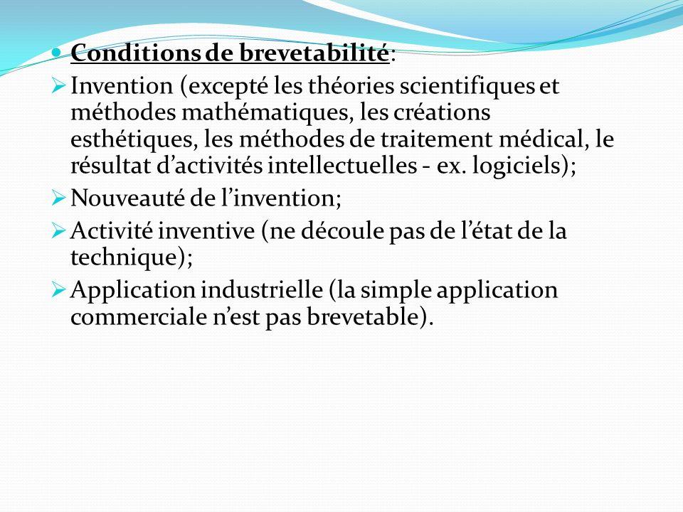 Conditions de brevetabilité: Invention (excepté les théories scientifiques et méthodes mathématiques, les créations esthétiques, les méthodes de trait