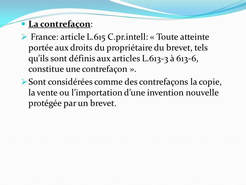 La contrefaçon: France: article L.615 C.pr.intell: « Toute atteinte portée aux droits du propriétaire du brevet, tels quils sont définis aux articles