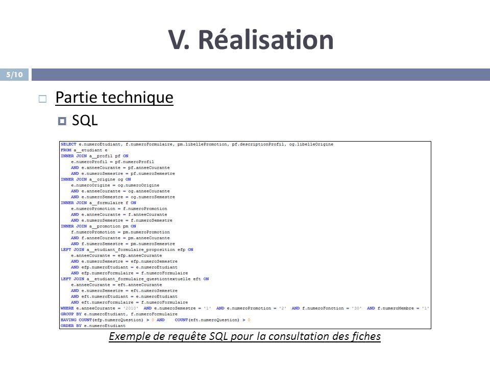 V. Réalisation Partie technique SQL Exemple de requête SQL pour la consultation des fiches 5/10