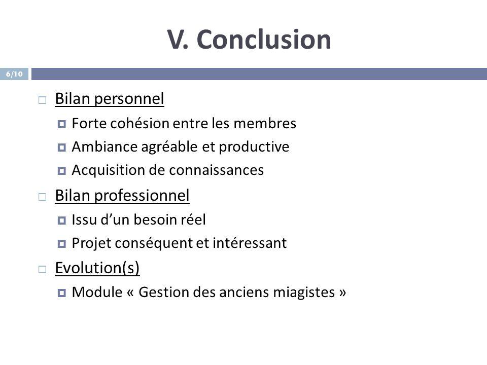 V. Conclusion Bilan personnel Forte cohésion entre les membres Ambiance agréable et productive Acquisition de connaissances Bilan professionnel Issu d