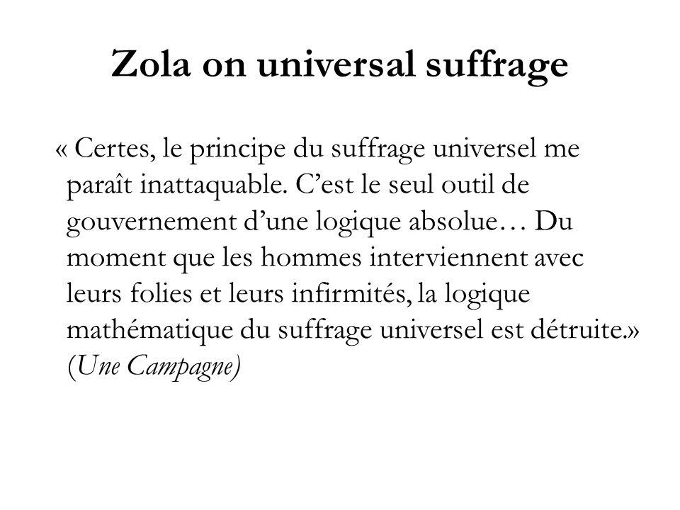 Zola on universal suffrage « Certes, le principe du suffrage universel me paraît inattaquable. Cest le seul outil de gouvernement dune logique absolue