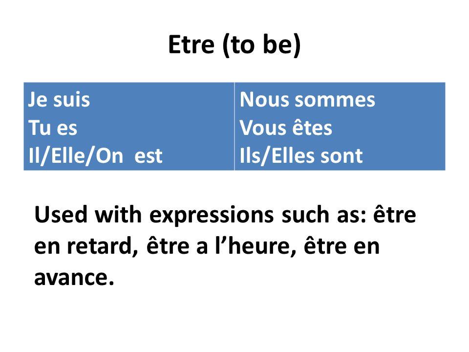 Etre (to be) Je suis Tu es Il/Elle/On est Nous sommes Vous êtes Ils/Elles sont Used with expressions such as: être en retard, être a lheure, être en a