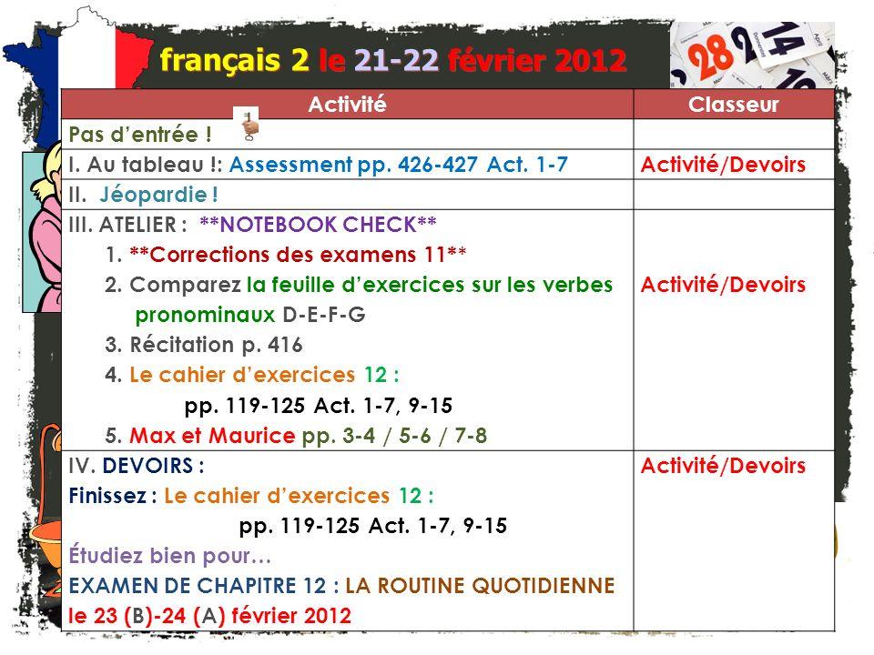 Lentrée. français 2 Quel est le problème . Corrigez la faute dans chacune de ces phrases.