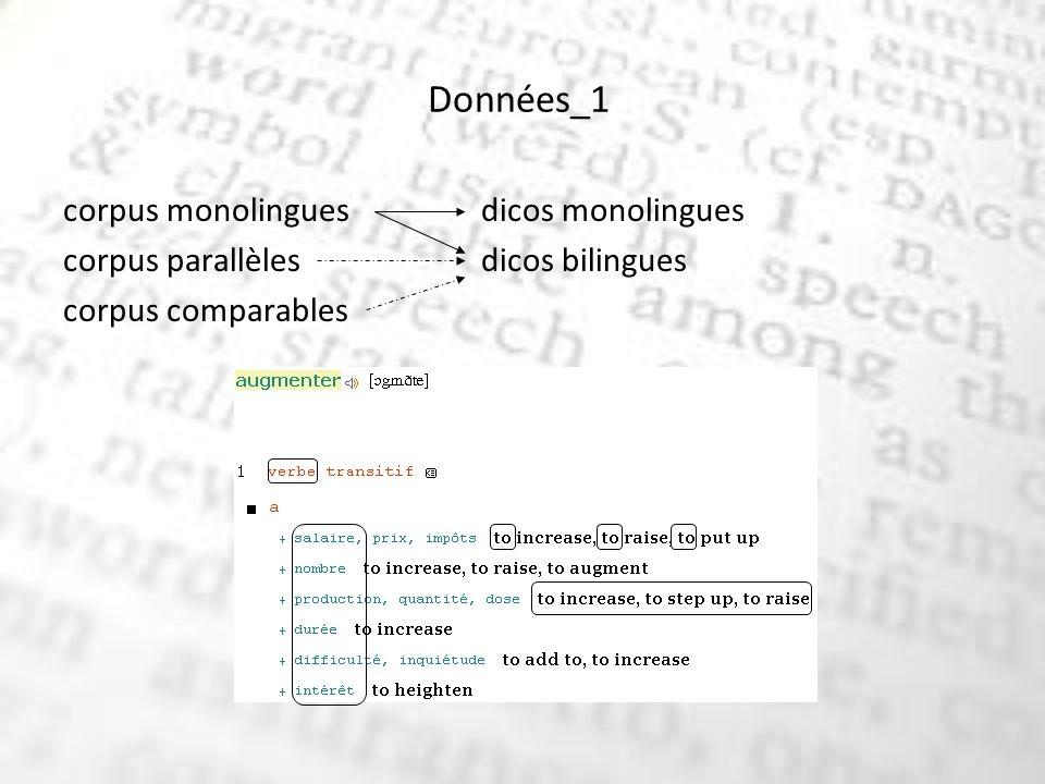 Données_1 corpus monolinguesdicos monolingues corpus parallèles dicos bilingues corpus comparables