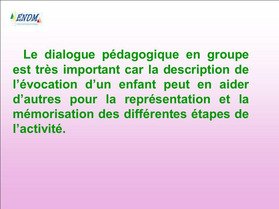 Le dialogue pédagogique en groupe est très important car la description de lévocation dun enfant peut en aider dautres pour la représentation et la mémorisation des différentes étapes de lactivité.