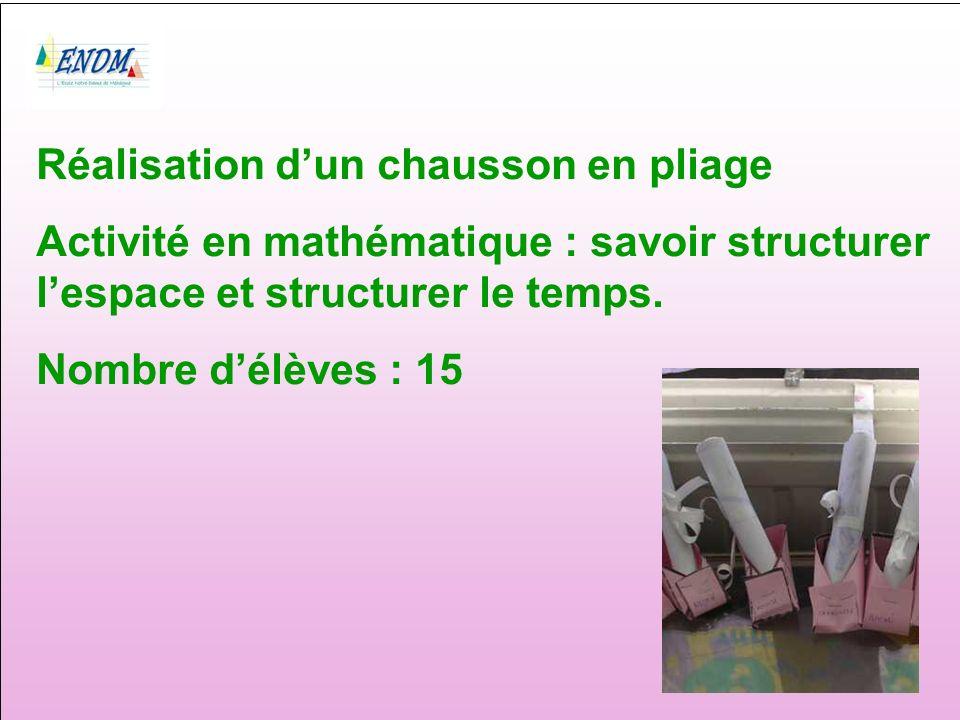 Réalisation dun chausson en pliage Activité en mathématique : savoir structurer lespace et structurer le temps.
