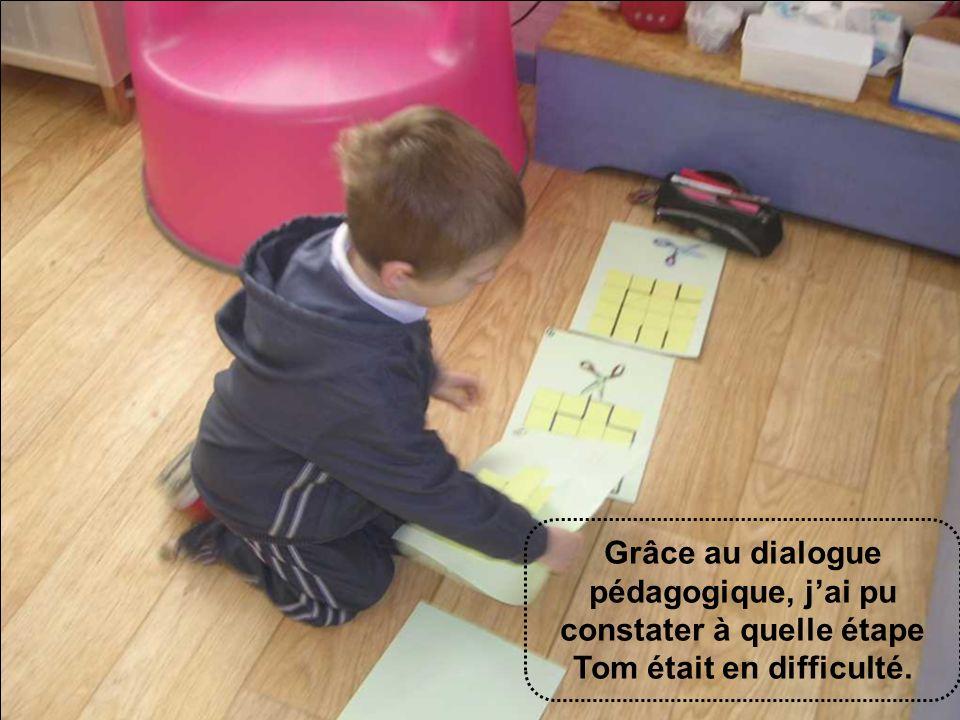 Grâce au dialogue pédagogique, jai pu constater à quelle étape Tom était en difficulté.