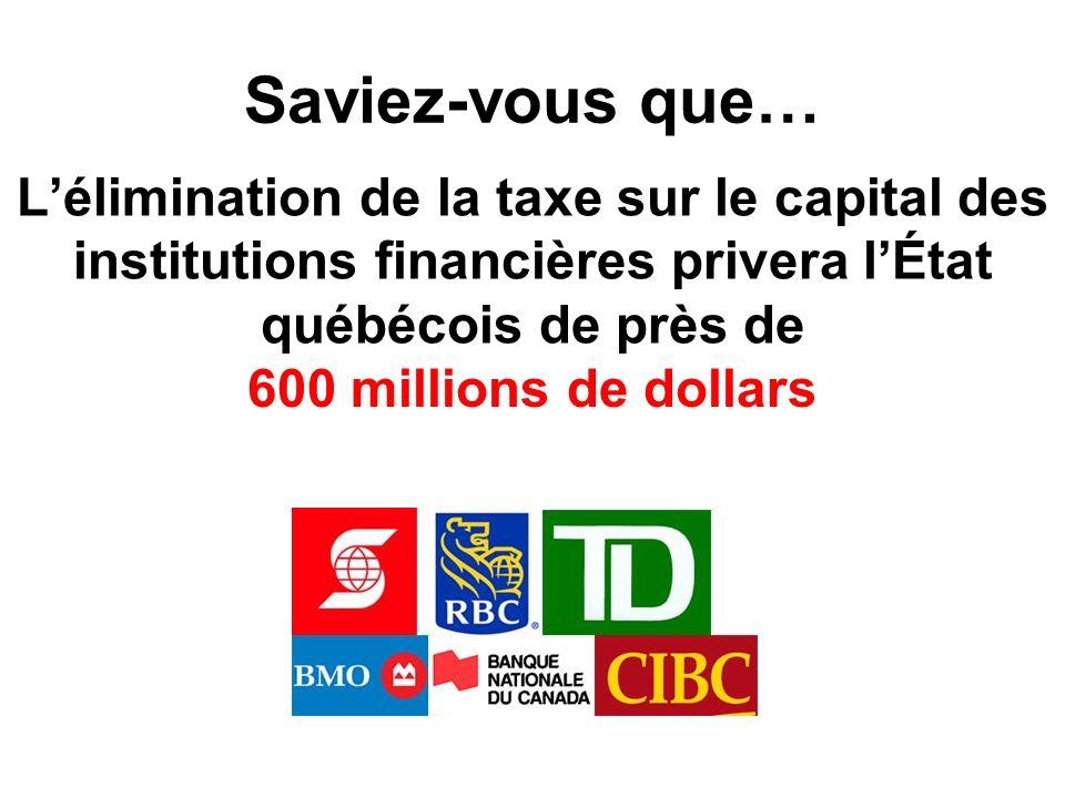 Saviez-vous que… Lélimination de la taxe sur le capital des institutions financières privera lÉtat québécois de près de 600 millions de dollars