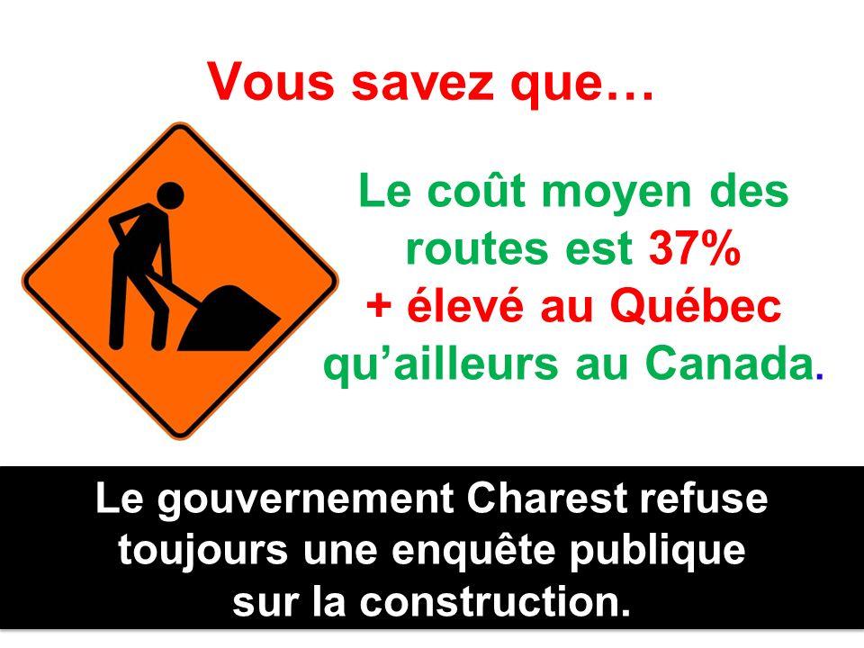 Vous savez que… Le coût moyen des routes est 37% + élevé au Québec quailleurs au Canada. Le gouvernement Charest refuse toujours une enquête publique