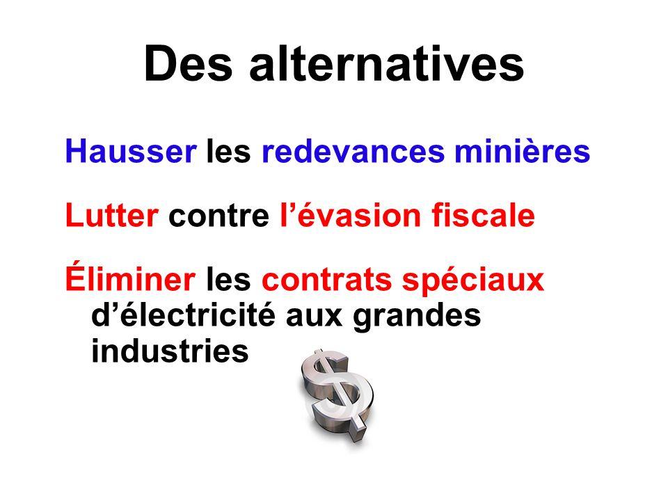 Des alternatives Hausser les redevances minières Lutter contre lévasion fiscale Éliminer les contrats spéciaux délectricité aux grandes industries