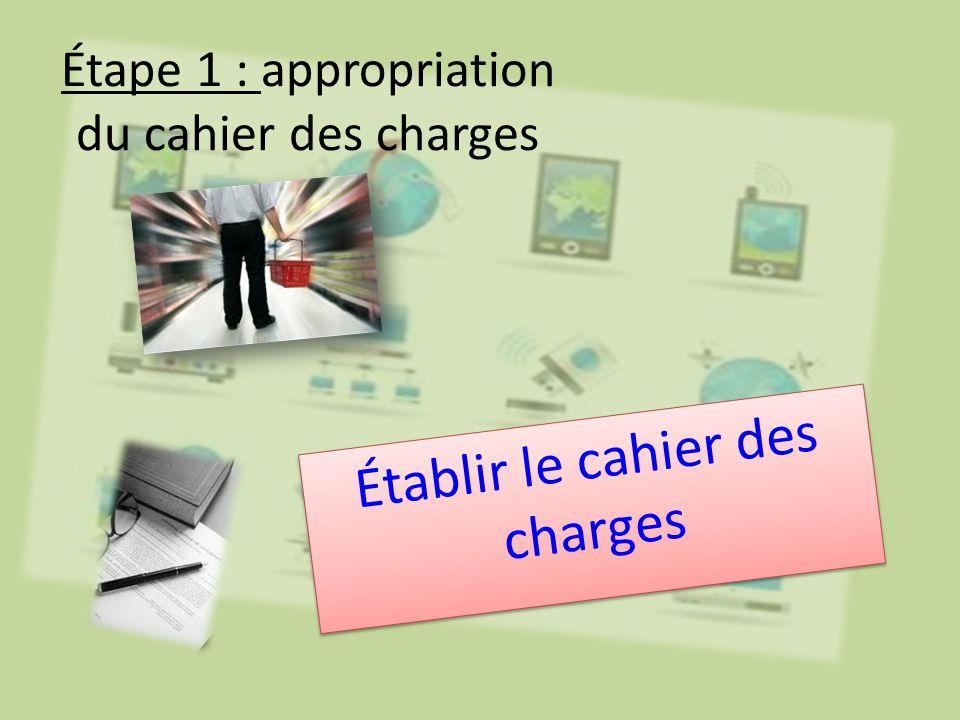 Étape 1 : appropriation du cahier des charges Établir le cahier des charges
