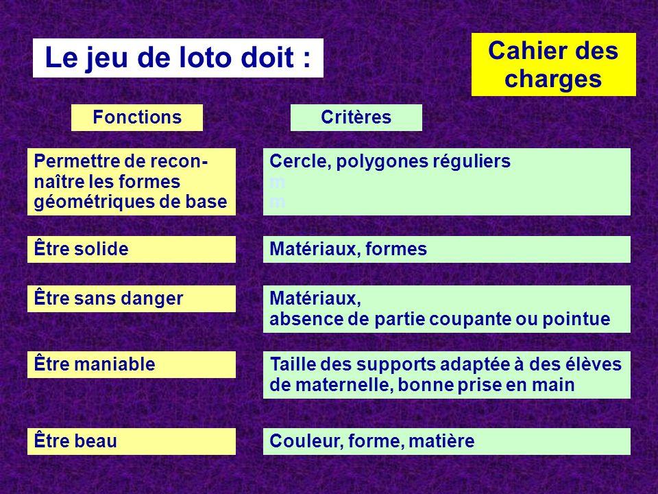 Cahier des charges Le jeu de loto doit : Permettre de recon- naître les formes géométriques de base Être solide Être sans danger Être maniable Être be