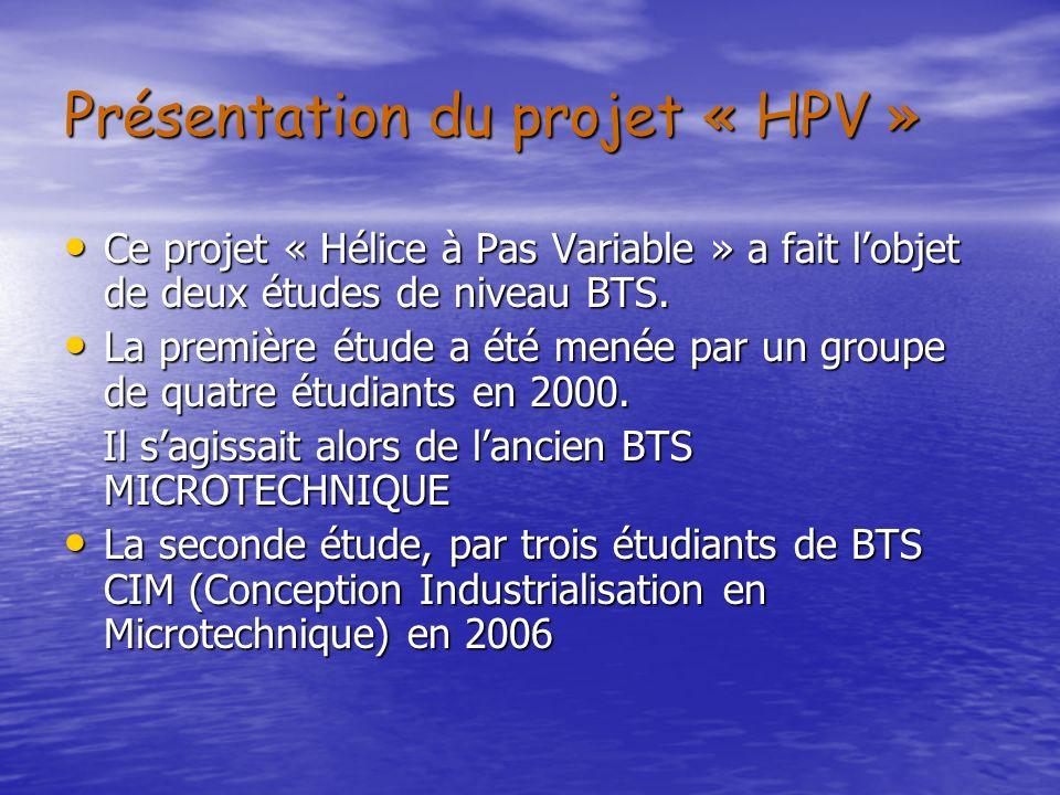 Présentation du projet « HPV » Ce projet « Hélice à Pas Variable » a fait lobjet de deux études de niveau BTS. Ce projet « Hélice à Pas Variable » a f