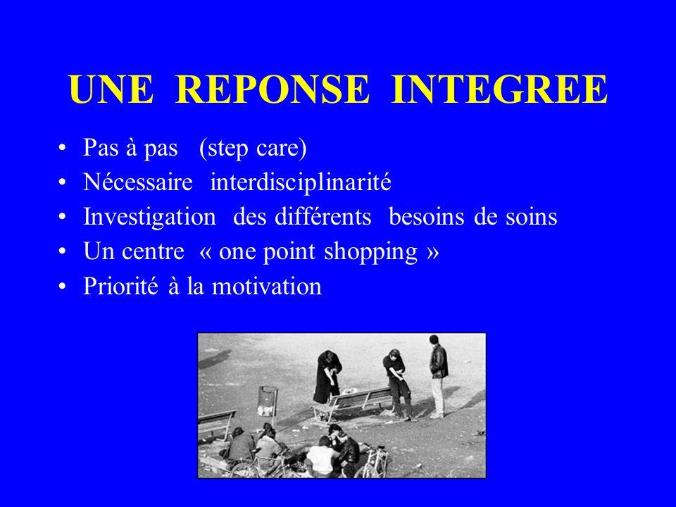 UNE REPONSE INTEGREE Pas à pas (step care) Nécessaire interdisciplinarité Investigation des différents besoins de soins Un centre « one point shopping » Priorité à la motivation