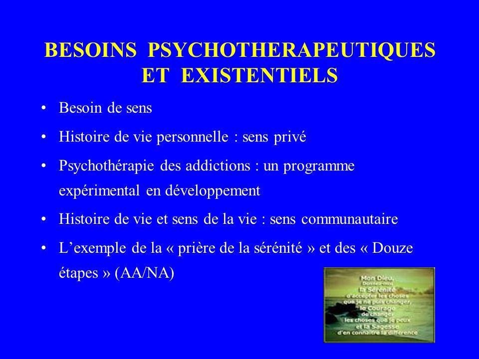 BESOINS PSYCHOTHERAPEUTIQUES ET EXISTENTIELS Besoin de sens Histoire de vie personnelle : sens privé Psychothérapie des addictions : un programme expérimental en développement Histoire de vie et sens de la vie : sens communautaire Lexemple de la « prière de la sérénité » et des « Douze étapes » (AA/NA)