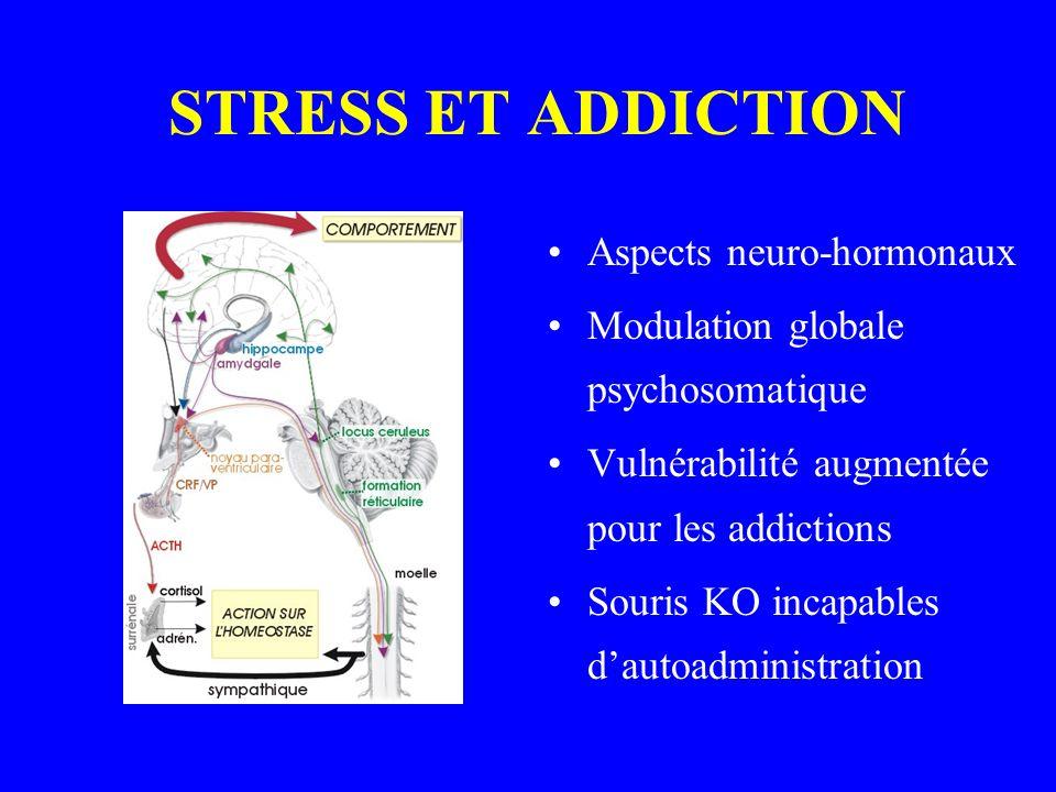 STRESS ET ADDICTION Aspects neuro-hormonaux Modulation globale psychosomatique Vulnérabilité augmentée pour les addictions Souris KO incapables dautoadministration