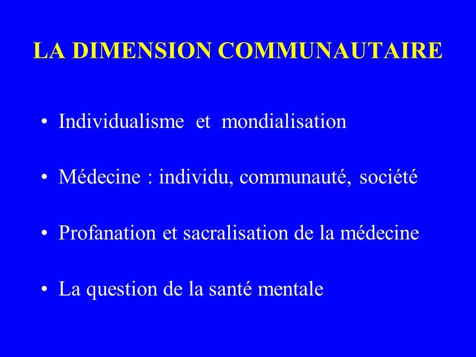 LA DIMENSION COMMUNAUTAIRE Individualisme et mondialisation Médecine : individu, communauté, société Profanation et sacralisation de la médecine La question de la santé mentale