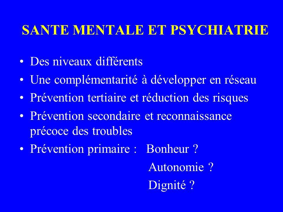 SANTE MENTALE ET PSYCHIATRIE Des niveaux différents Une complémentarité à développer en réseau Prévention tertiaire et réduction des risques Prévention secondaire et reconnaissance précoce des troubles Prévention primaire : Bonheur .