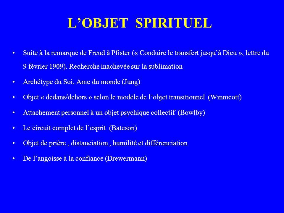 LOBJET SPIRITUEL Suite à la remarque de Freud à Pfister (« Conduire le transfert jusquà Dieu », lettre du 9 février 1909).
