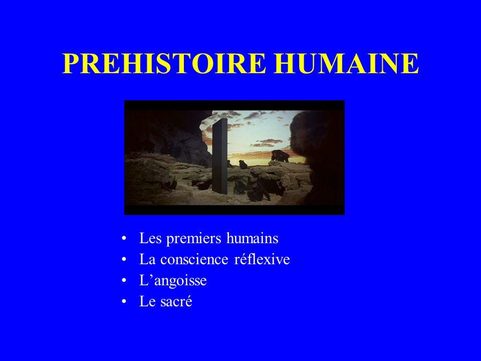 PREHISTOIRE HUMAINE Les premiers humains La conscience réflexive Langoisse Le sacré