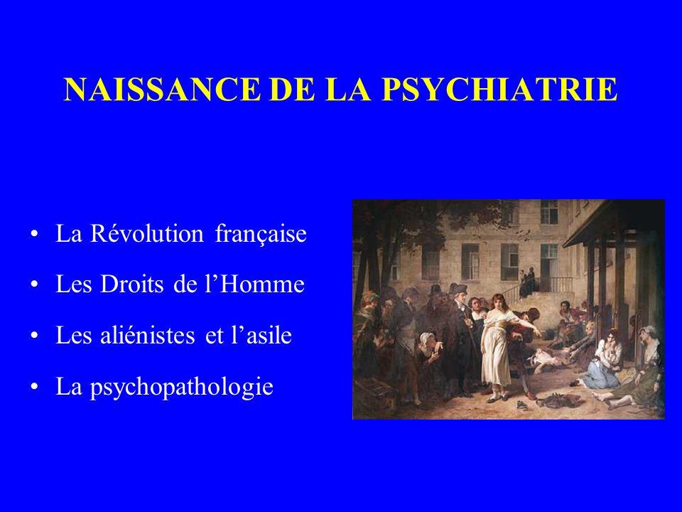 NAISSANCE DE LA PSYCHIATRIE La Révolution française Les Droits de lHomme Les aliénistes et lasile La psychopathologie