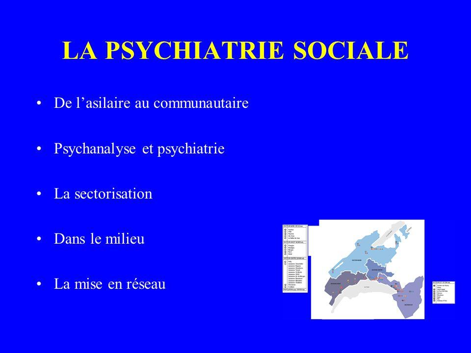LA PSYCHIATRIE SOCIALE De lasilaire au communautaire Psychanalyse et psychiatrie La sectorisation Dans le milieu La mise en réseau