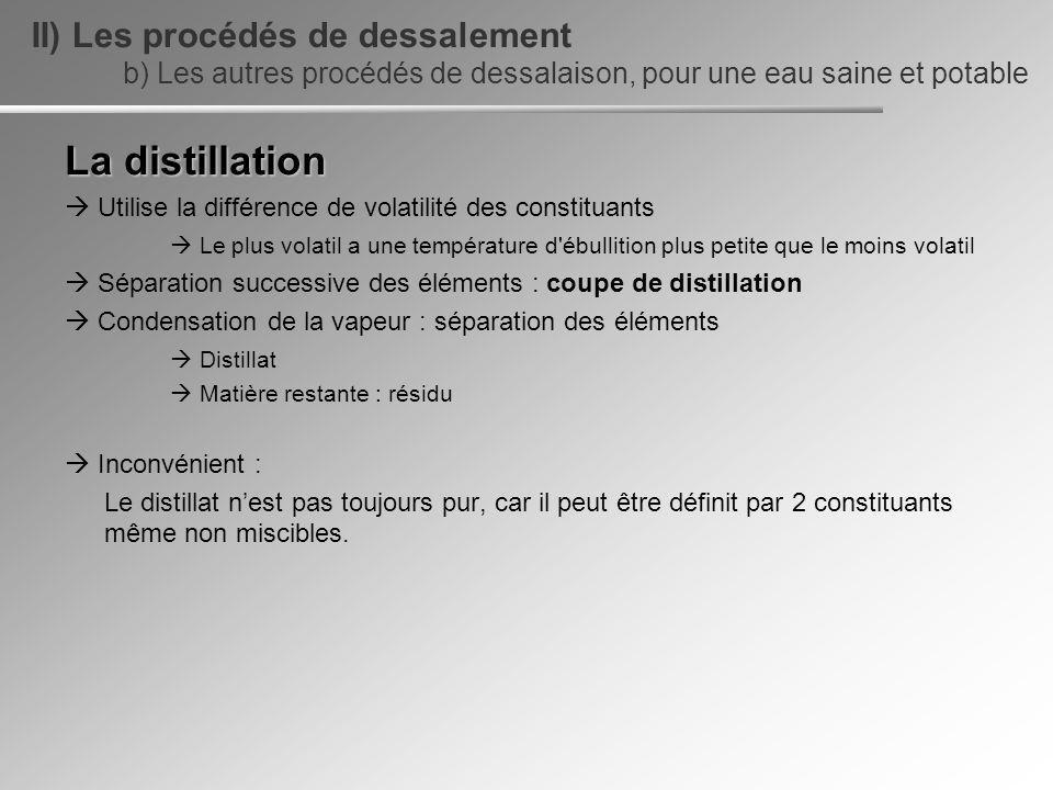 La distillation Utilise la différence de volatilité des constituants Le plus volatil a une température d'ébullition plus petite que le moins volatil S