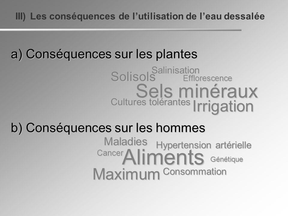 III) Les conséquences de lutilisation de leau dessalée a) Conséquences sur les plantes b) Conséquences sur les hommes Solisols Irrigation Efflorescenc