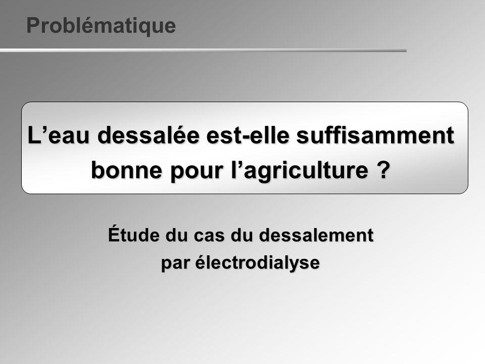 Problématique Leau dessalée est-elle suffisamment bonne pour lagriculture ? Étude du cas du dessalement par électrodialyse