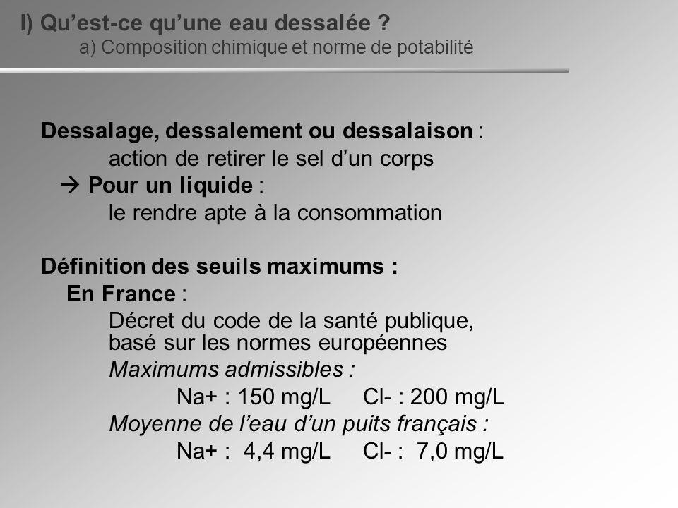Dessalage, dessalement ou dessalaison : action de retirer le sel dun corps Pour un liquide : le rendre apte à la consommation Définition des seuils ma