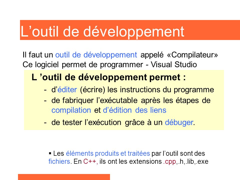 Produire un EXE en C++ Le Compilateur - à partir du fichier source Test.ccp et des fichiers de définition *.h - produit le fichier Test.obj, Autres.h COMPILATEUR Test.obj EDITEUR de LIENS Autres.objFichiers.lib Test.exe EDITEUR Test.cppTest.h LEditeur de liens ou «Linker» - à partir des fichiers *.obj et des fichiers librairies *.lib produit le programme exécutable (fichiers Test.exe) LÉditeur produit - le code fichier source -Test.ccp - le fichier de définition Test.h