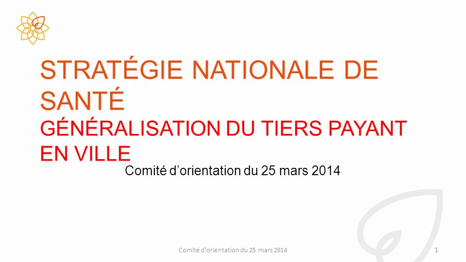 STRATÉGIE NATIONALE DE SANTÉ GÉNÉRALISATION DU TIERS PAYANT EN VILLE Comité d orientation du 25 mars 2014 1 Comité dorientation du 25 mars 2014