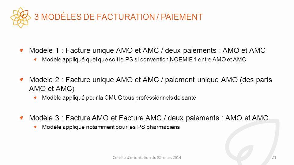 3 MODÈLES DE FACTURATION / PAIEMENT Modèle 1 : Facture unique AMO et AMC / deux paiements : AMO et AMC Modèle appliqué quel que soit le PS si convention NOEMIE 1 entre AMO et AMC Modèle 2 : Facture unique AMO et AMC / paiement unique AMO (des parts AMO et AMC) Modèle appliqué pour la CMUC tous professionnels de santé Modèle 3 : Facture AMO et Facture AMC / deux paiements : AMO et AMC Modèle appliqué notamment pour les PS pharmaciens 21 Comité d orientation du 25 mars 2014