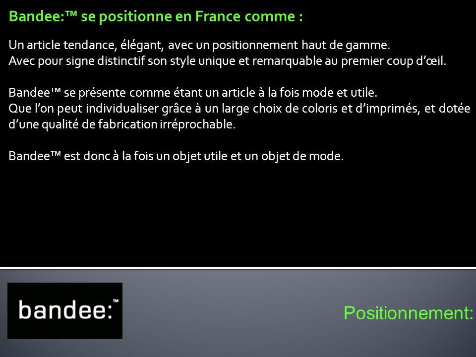 Bandee: se positionne en France comme : Un article tendance, élégant, avec un positionnement haut de gamme. Avec pour signe distinctif son style uniqu