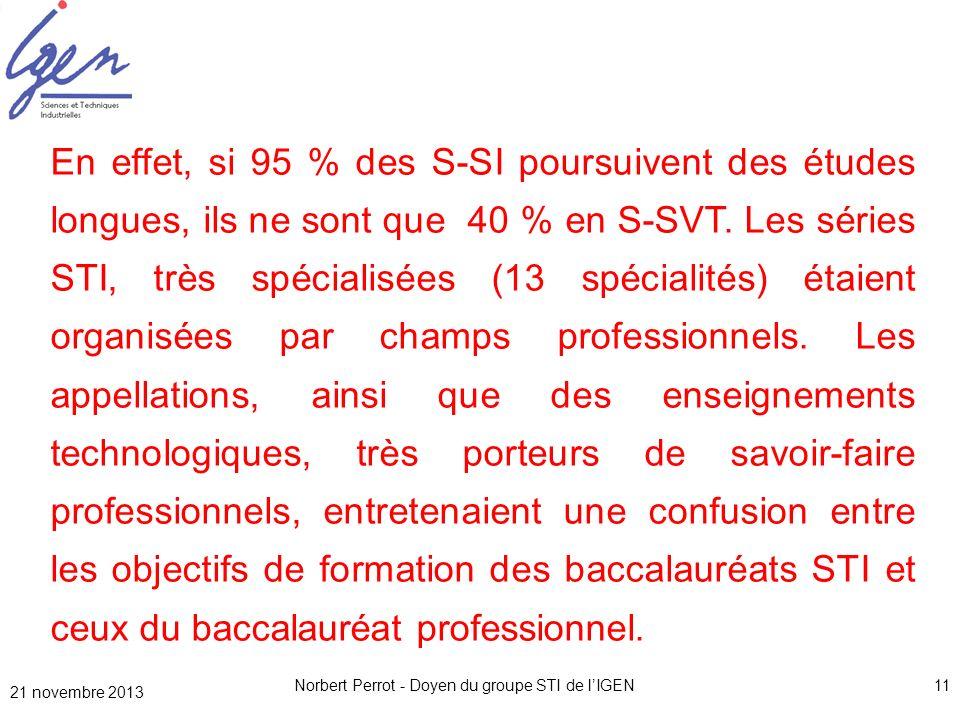21 novembre 2013 Norbert Perrot - Doyen du groupe STI de lIGEN11 En effet, si 95 % des S-SI poursuivent des études longues, ils ne sont que 40 % en S-