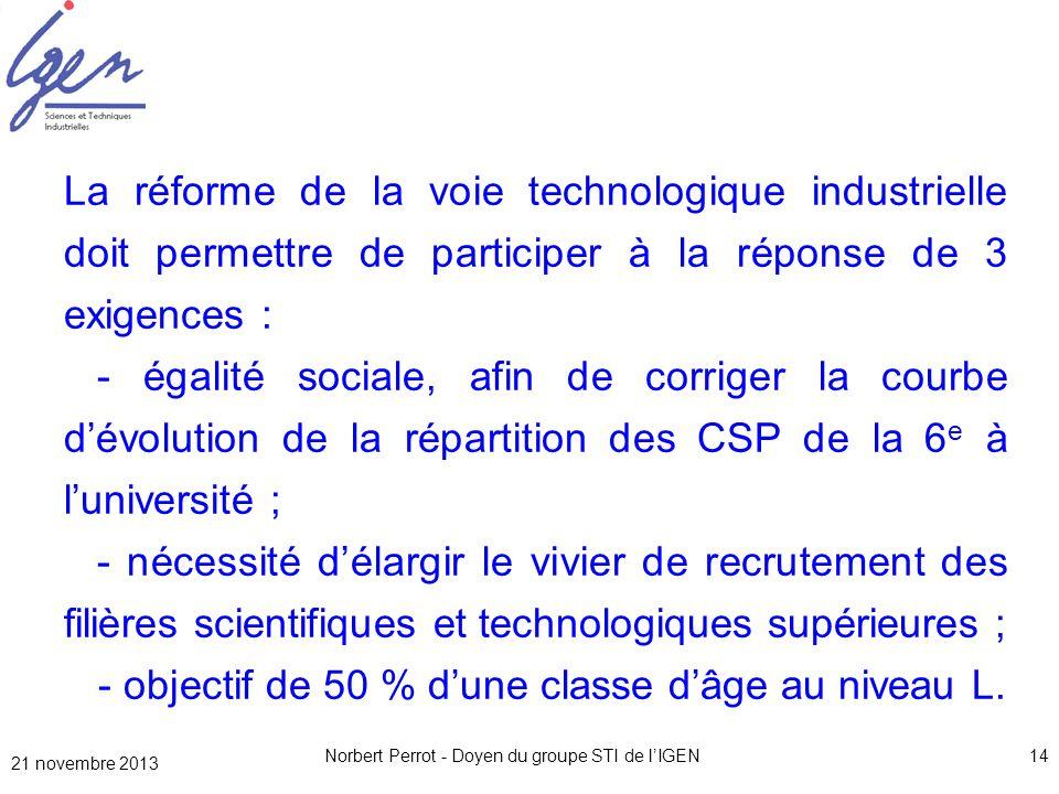 Norbert Perrot - Doyen du groupe STI de lIGEN14 La réforme de la voie technologique industrielle doit permettre de participer à la réponse de 3 exigen