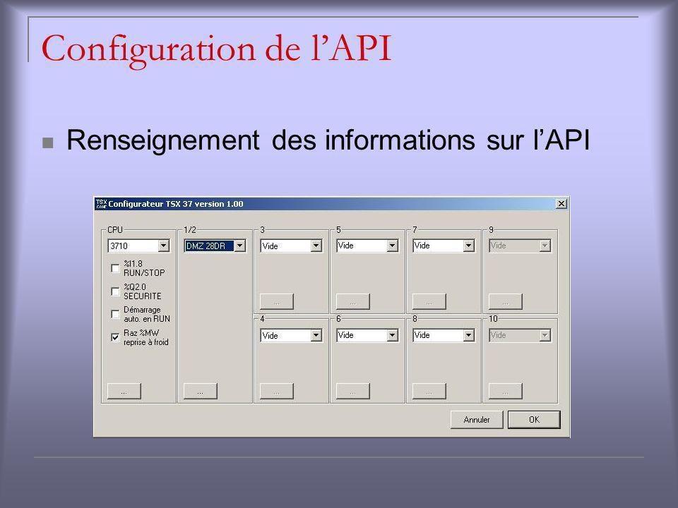 Configuration de lAPI Renseignement des informations sur lAPI
