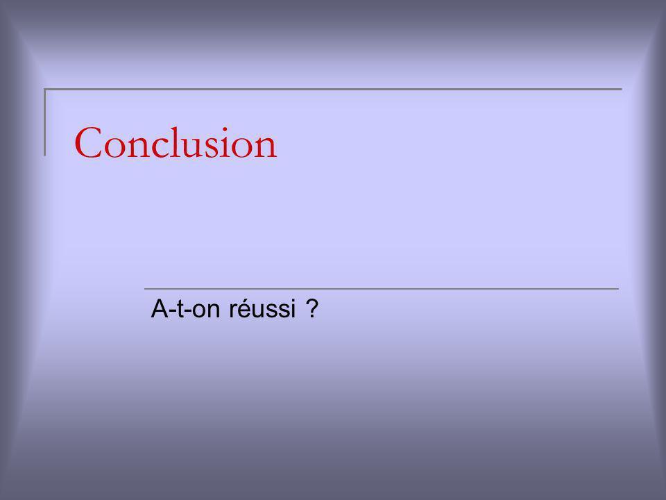 Conclusion A-t-on réussi ?