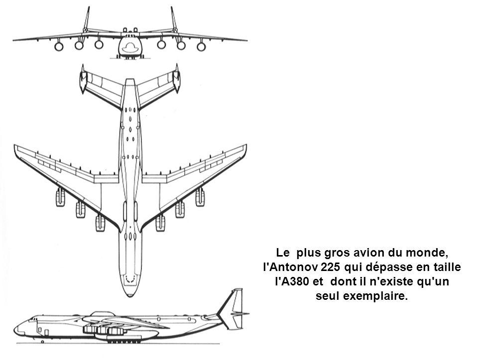 Le plus gros avion du monde, l Antonov 225 qui dépasse en taille l A380 et dont il n existe qu un seul exemplaire.
