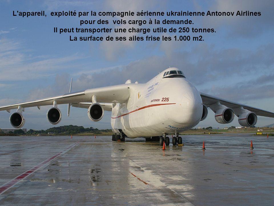 L appareil, exploité par la compagnie aérienne ukrainienne Antonov Airlines pour des vols cargo à la demande.