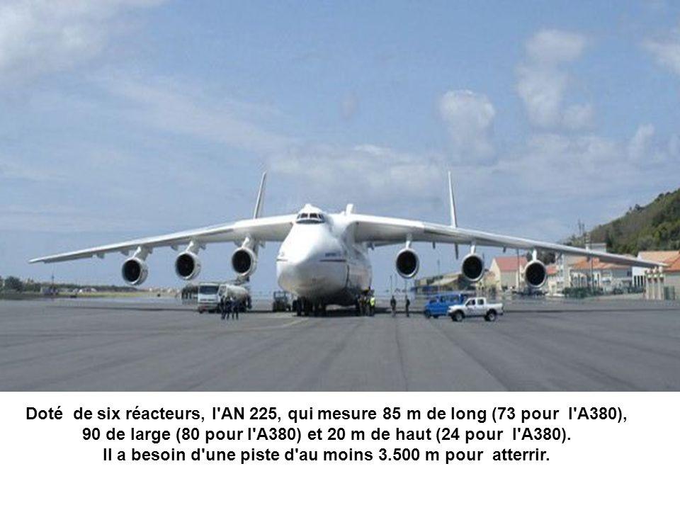 Doté de six réacteurs, l AN 225, qui mesure 85 m de long (73 pour l A380), 90 de large (80 pour l A380) et 20 m de haut (24 pour l A380).