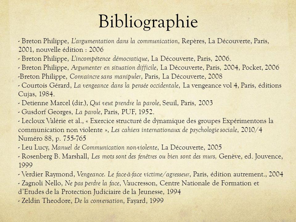 Bibliographie - Breton Philippe, Largumentation dans la communication, Repères, La Découverte, Paris, 2001, nouvelle édition : 2006 - Breton Philippe,