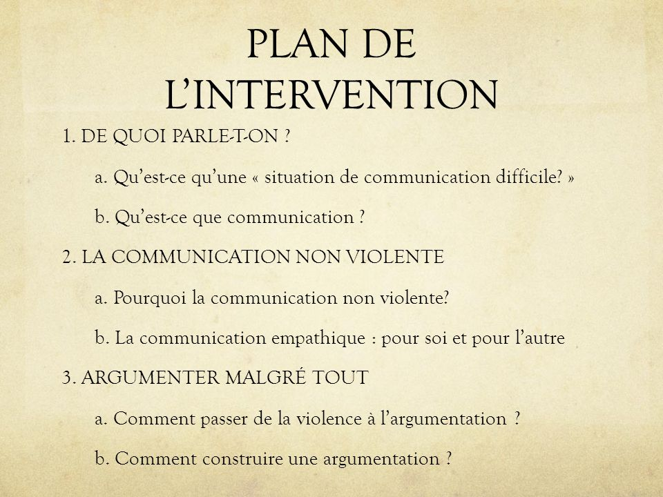 PLAN DE LINTERVENTION 1. DE QUOI PARLE-T-ON ? a. Quest-ce quune « situation de communication difficile? » b. Quest-ce que communication ? 2. LA COMMUN