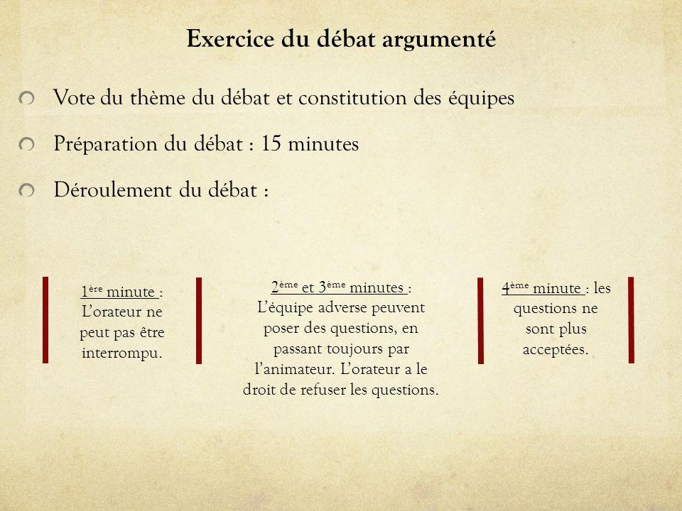 Exercice du débat argumenté Vote du thème du débat et constitution des équipes Préparation du débat : 15 minutes Déroulement du débat : 1 ère minute :