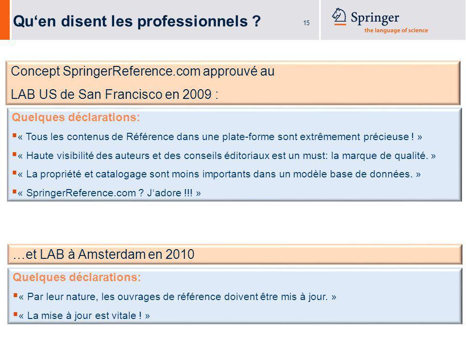15 Concept SpringerReference.com approuvé au LAB US de San Francisco en 2009 : Quen disent les professionnels .